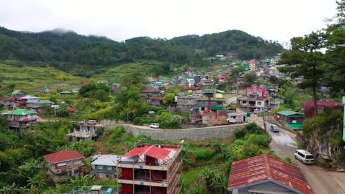 Aerial View Town of Sagada, Located in the Mountainous Province of Philippines. City in the Valley