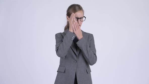 Thumbnail for Young Stressed Businesswoman Covering Eyes Not Wanting To See Something