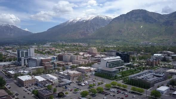 Thumbnail for Aerial view of downtown Provo, Utah and the Wasatch Mountains