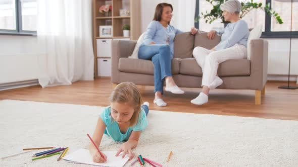 Adults Talking and Girl Drawing at Home 47