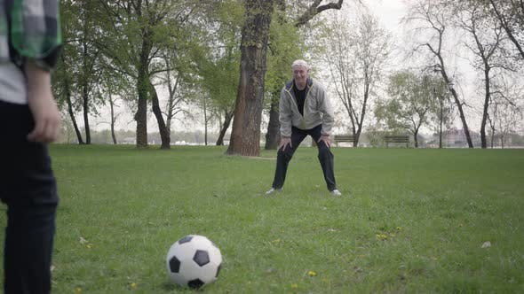 Thumbnail for Grandson Hitting the Ball and Grandfather Catching It