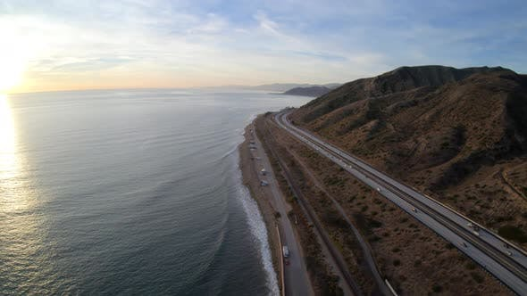 Thumbnail for Ventura Freeway Highway 101 Pacific Coast California Aerial View High Above Roadway At Sunset