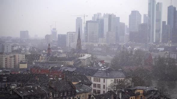 Thumbnail for Frankfurt Germany Maine River And Business Towers In Snowy Day