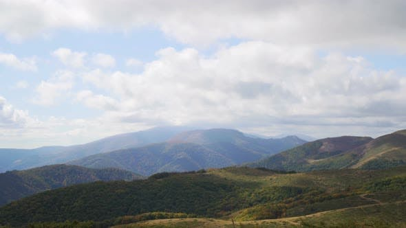 Thumbnail for Green Mountains. Cloudy Sky and Hills Meadow. Panning. Beautiful Panoramic View