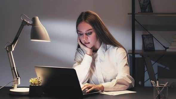 Overworking Fatigue Tired Sleepy Business Woman