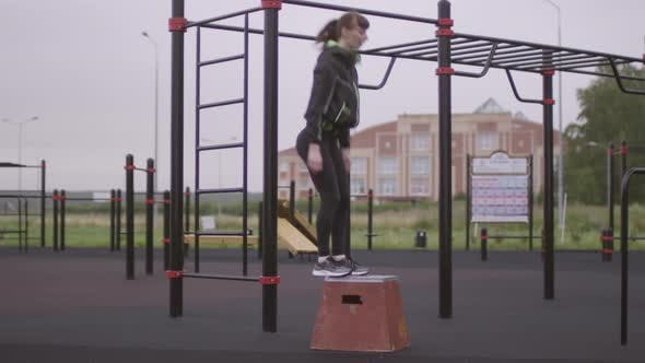 Thumbnail for Sportive Woman Doing Box Jumps at Outdoor Fitness Court