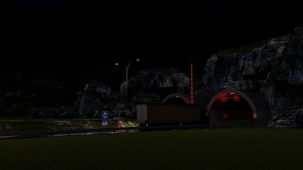 Thumbnail for Vehicles entering the tunnel at Night
