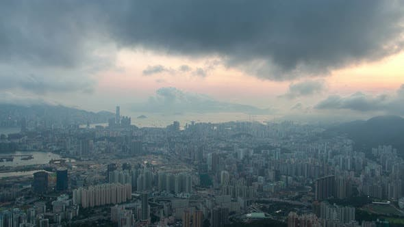 Thumbnail for Timelapse Hong Kong City District Under Grey Dense Clouds