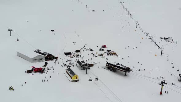 Drone Motion of Winter Ski Resort in Mountains