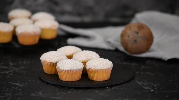 Thumbnail for Tasty homemade muffins with coconut powder. Healthy breakfast.