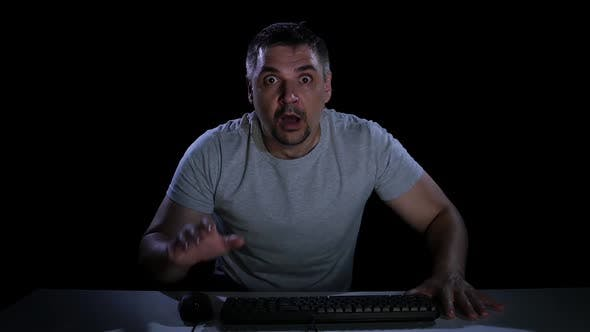 Thumbnail for Man Afraid of Watching Online Movie. Emotions of Fear. Studio