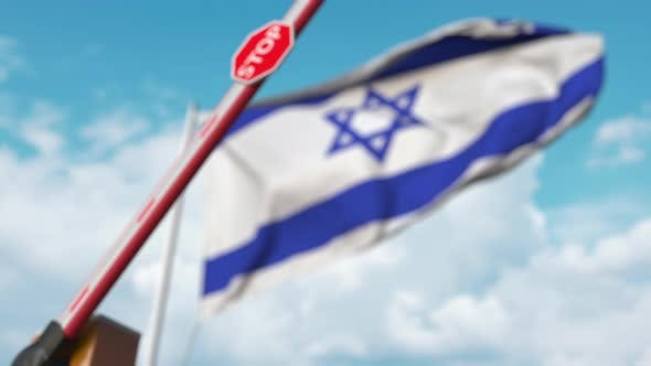 Thumbnail for Closed Boom Gate on the Israeli Flag Background