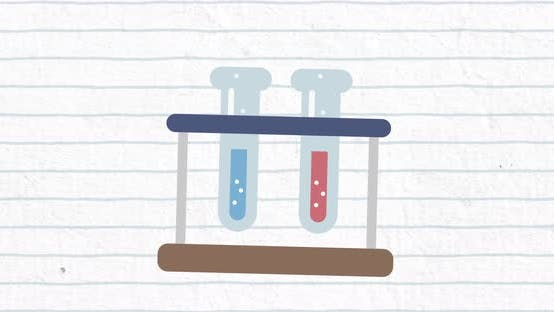 Two test tubes with blue lines on a white background