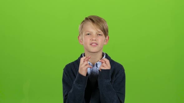 Thumbnail for Kid Boy Crossed His Fingers, He Is a Fan, but the Team Lost. Green Screen