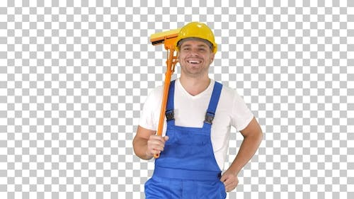 Housecleaner in helmet walking with a mop, Alpha Channel
