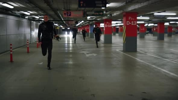Police Chasing Terrorist in Urban Building