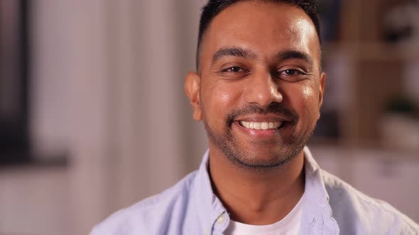 Thumbnail for Portrait of Happy Smiling Indian Man at Home