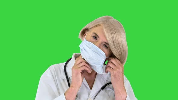 Elderly Woman Medical Mask Stethoscope Green Screen Chroma Key