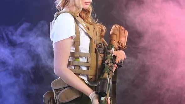 Thumbnail for Female Private Military Contractor Dressed in Tactical Uniform Armed with Riffle. Slow Motion