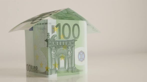 Thumbnail for EU paper money real estate construction on white background  4K 2160p 30fps UHD tilting footage - Cl
