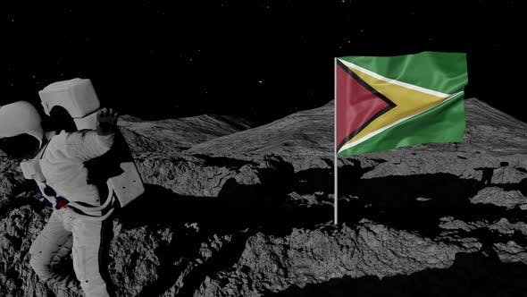 Thumbnail for Astronaut Planting Guyana Flag on the Moon