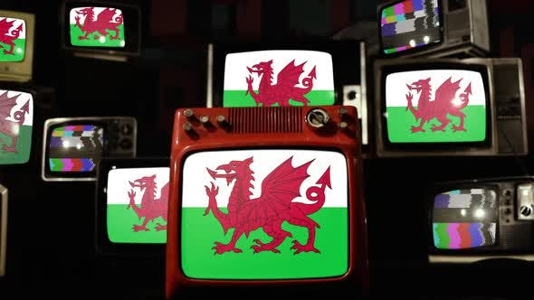 Wales flag and Retro Television Sets.