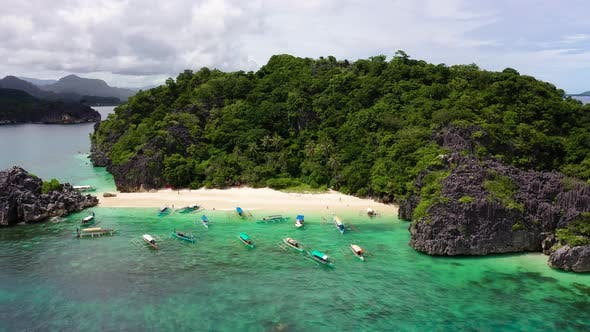 Caramoan Islands, Camarines Sur, Matukad, Philippines. Tropical Island with a White Sandy Beach