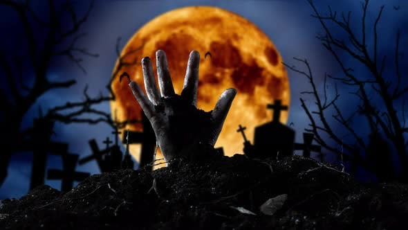 Thumbnail for Zombie Hand Comes Out of the Grave and Bats Fly. Graveyard Background