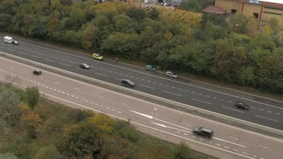 Police Walking to Motorway Accident
