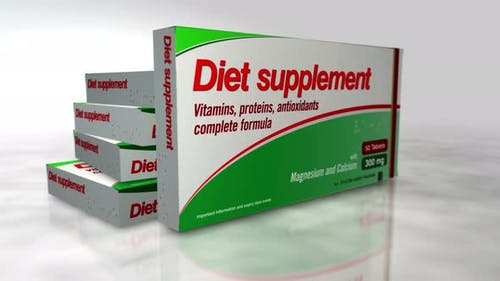 Diet supplements box in hand abstract concept 3d rendering