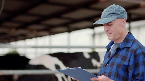 Thumbnail for Farmer Analyzing and Writing on Clipboard Against Cowshed