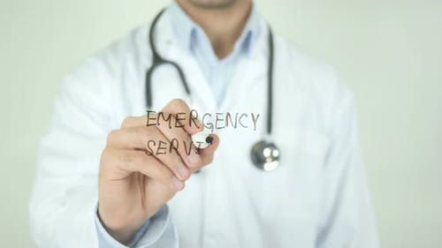 Emergency Services, Doctor Writing on Transparent Screen
