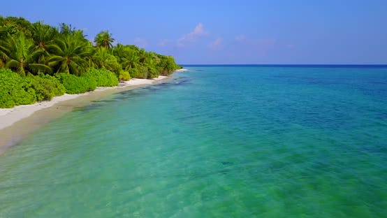 Thumbnail for Beautiful overhead travel shot of a paradise sunny white sand beach and turquoise sea background