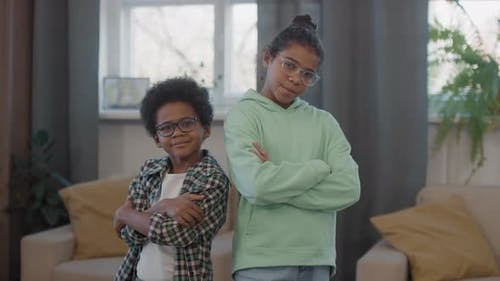 Portrait Of Afro Siblings In Glasses
