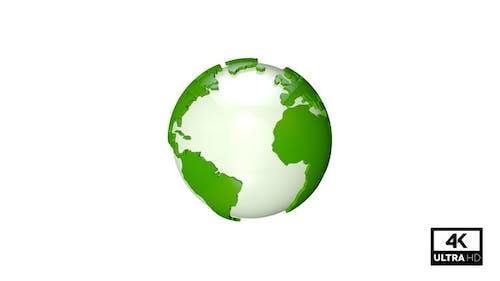 Green Earth Globe Seamlessly Rotating