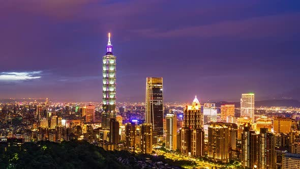day to night time lapse of city view in Taipei, Taiwan