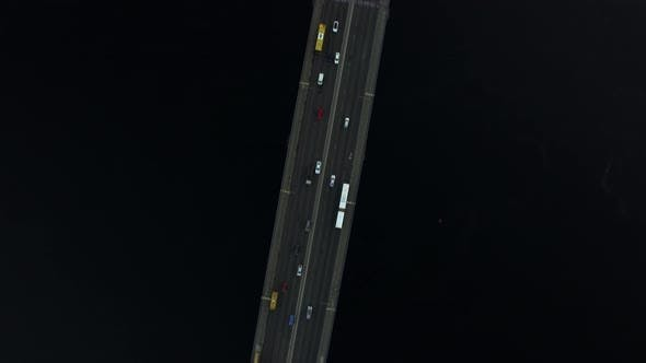 Thumbnail for Car Driving on Bridge Highway Over River. Top View Car Traffic on River Bridge