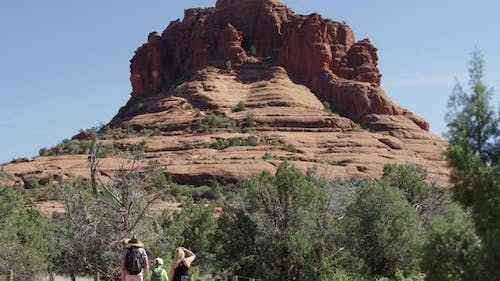 Tourists visiting the Bell Rock