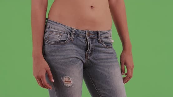 Thumbnail for Millennial Latina with ripped jeans on green screen