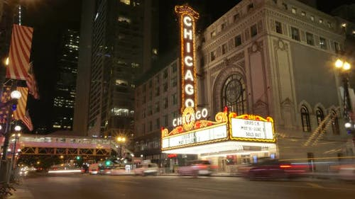 Chicago Theater Light and Cars at Night