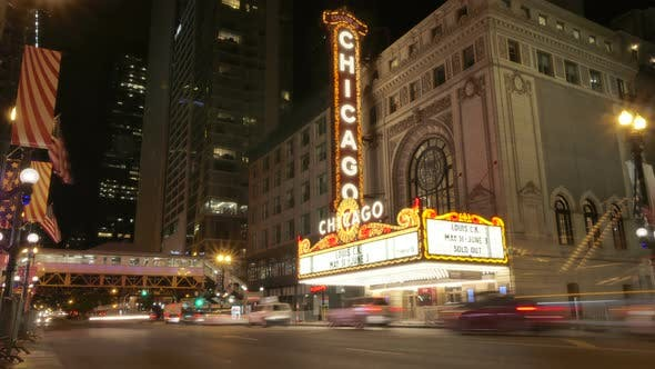 Thumbnail for Chicago Theater Light and Cars at Night
