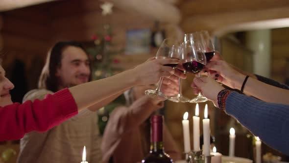 Thumbnail for Raising glasses at the Christmas dinner