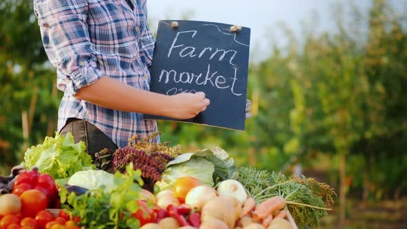 Cover Image for A Farmer Writes in Chalk on the Blackboard the Word Organic. Near the Counter with Fresh Vegetables