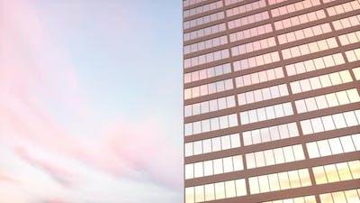 Skyscraper building against the blue sky