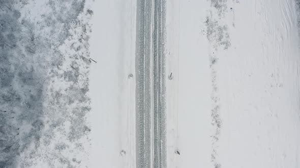 Thumbnail for Top View of Two-lane Railway in Winter