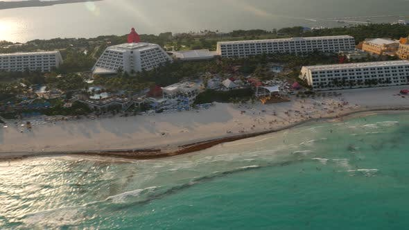 Aerial view of hotels and beach in Cancun, Mexico