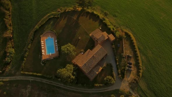 Thumbnail for Aerial Shot of A Holiday House in Tuscany