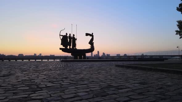 Symbol of Kyiv - a Monument To the Founders of the City in the Morning at Dawn. Ukraine. Aerial