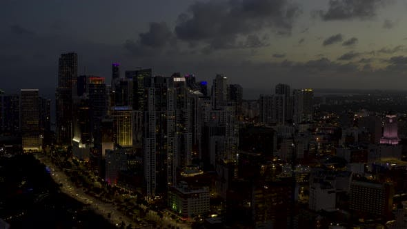 Night Aerial Approach Downtown Miami Florida United States
