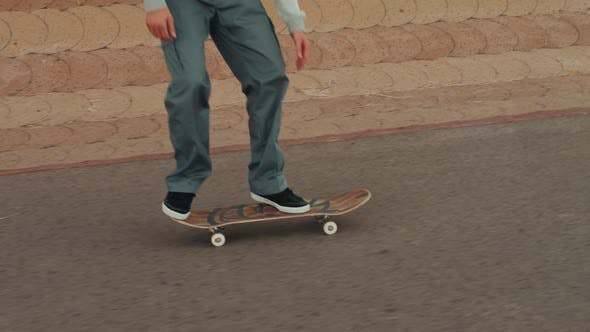 Thumbnail for Professional Skater Jump with Kickflip Flip Trick on Board, Skateboarder Ollie, Skateboarding -